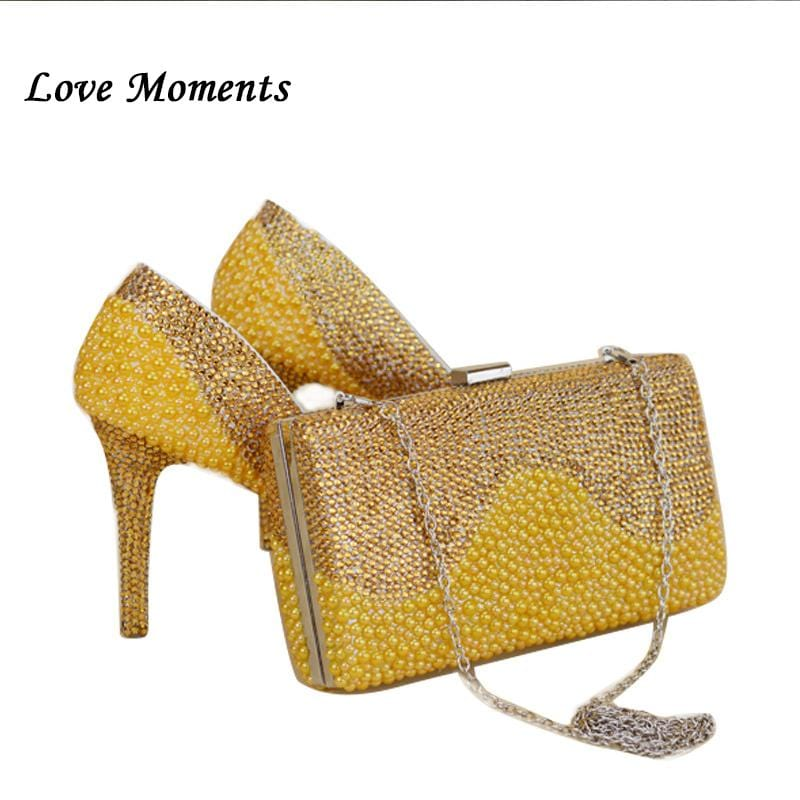 NEW Arrival yellow Gold pearl wedding shoes&purse Sets Crystal women's Pumps High shoes women's party Dress shoes and purse