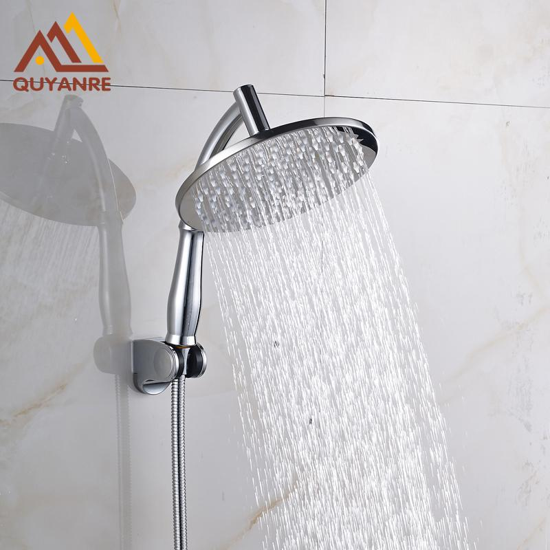 Free Shipping 8 Inch Rain Fall Head +Shower Arm+Handshower Holder +Hose Chrome Polish - EM