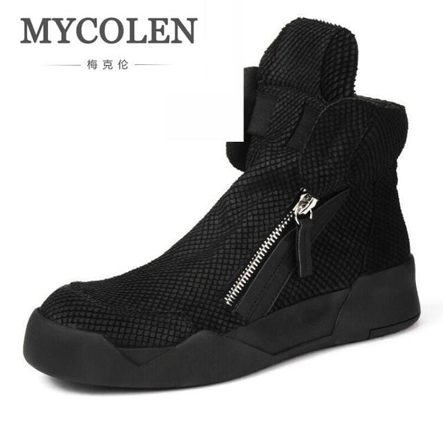 MYCOLEN Men Shoes High-Top Military Ankle Boots Comfortable Leather Motorcycle Boots Leisure Black Shoes Tenis Masculino Adulto