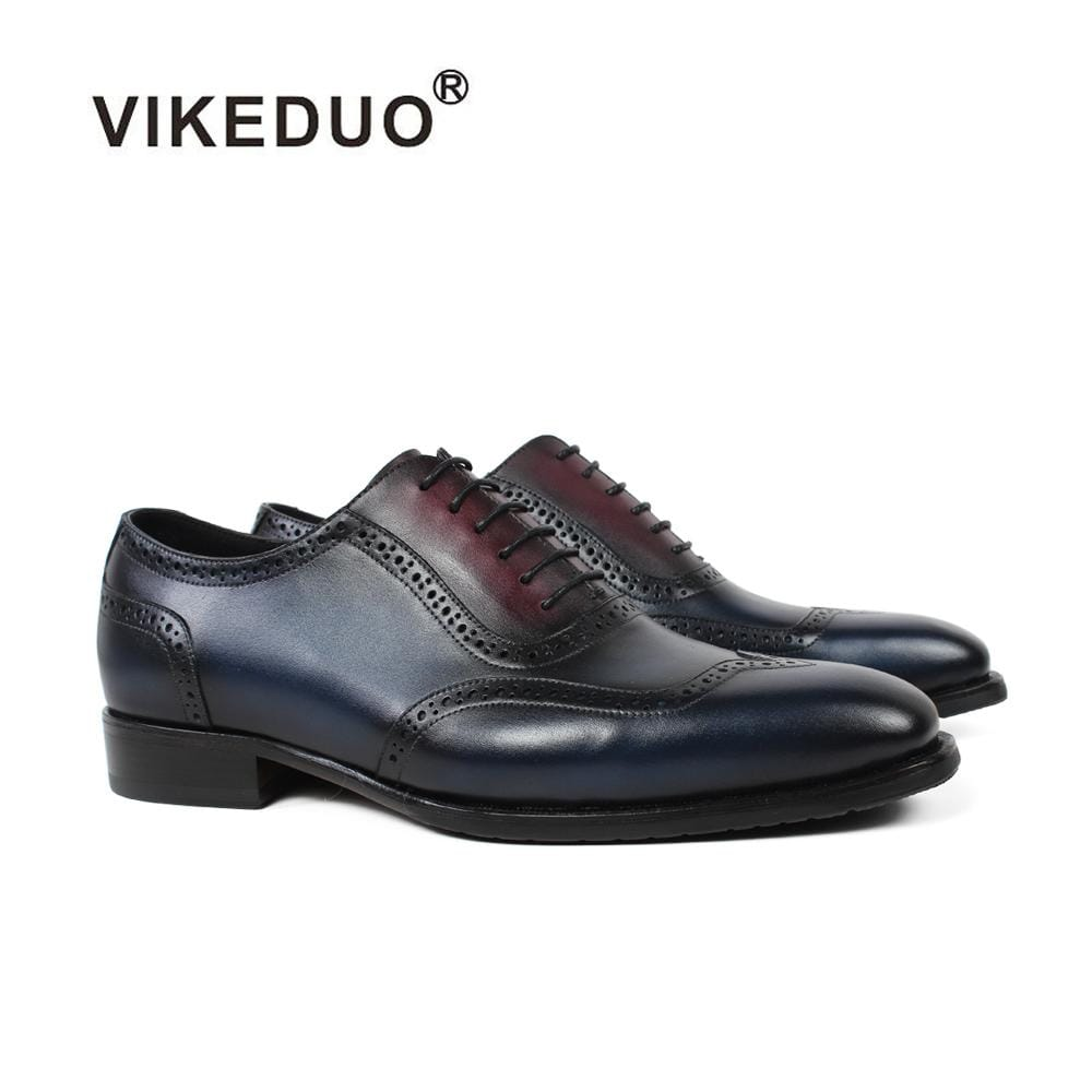 Vikeduo 2018 Handmade Designer Fashion Luxury Wedding Male Full Brogue Calfskin Genuine Leather Patina Men Dress Shoes