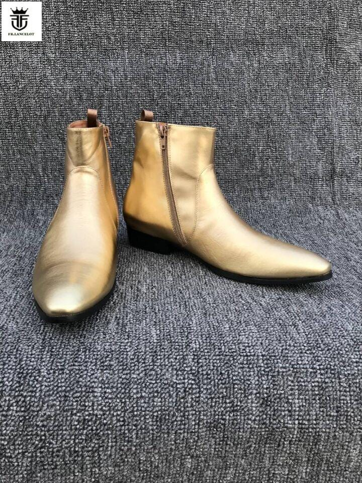 FR.LANCELOT 2018 fashion new pointed toe men real leather boots hot men zip up Chelsea boots gold leather booties