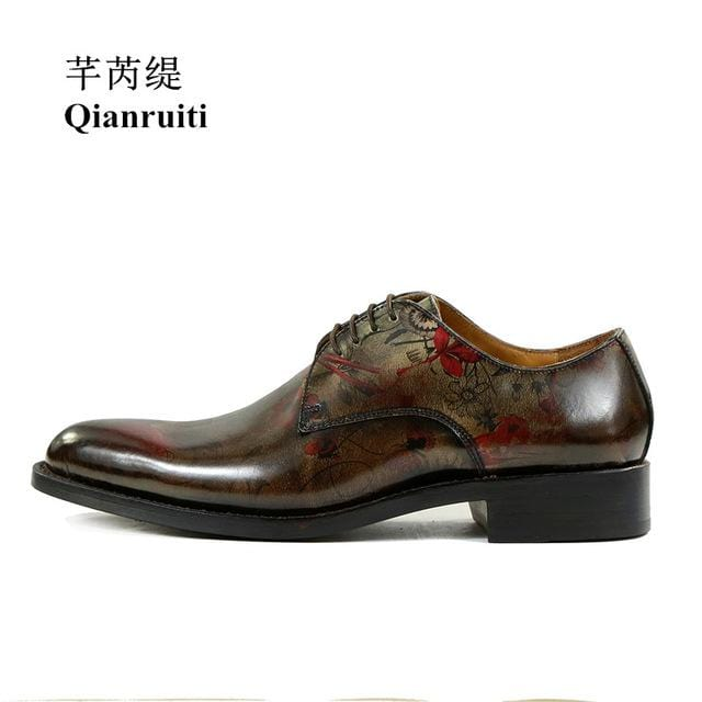 Qianruiti Men Patent Leather Shoes Vintage Style Bronze Slipper Printing Oxfords Men Lace-up Dress Shoes with Exquisite Box