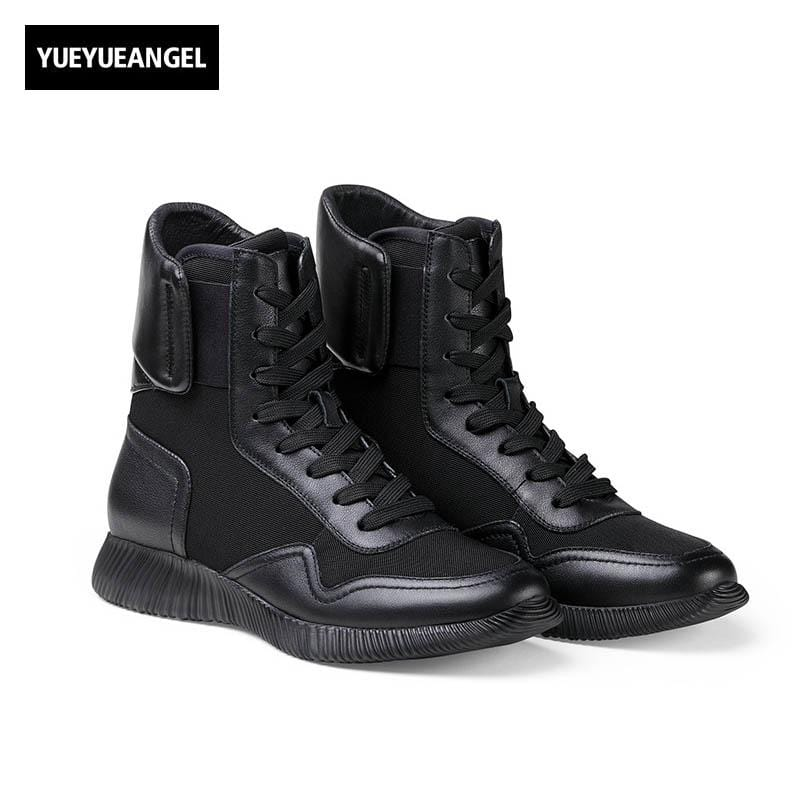 Mens New Fashion Genuine Leather Cow Winter Punk Lace Up Low Heel Mid Calf Boots Male Shoes Zapatos De Hombre Chaussure Black