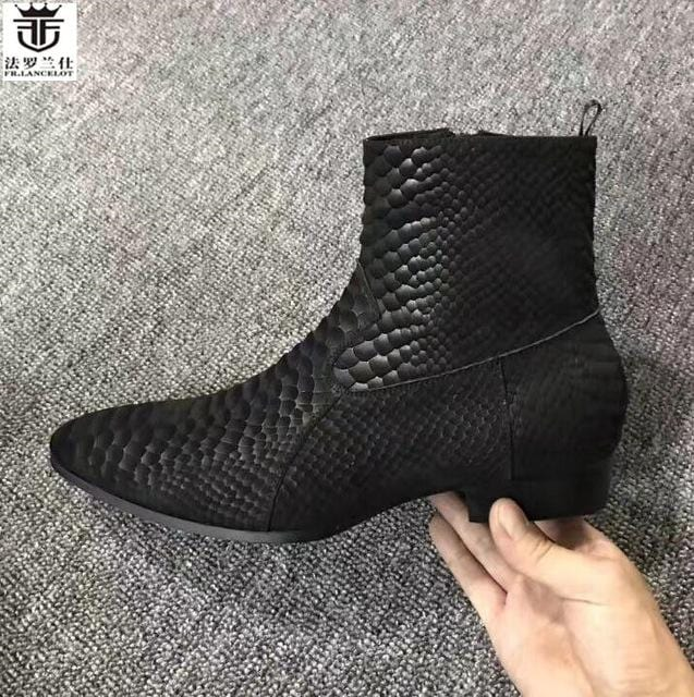 FR.LANCELOT 2018 snakeskin print leather boots fashion matt Leather ankle botas party shoes male zip up motorcycles men booties