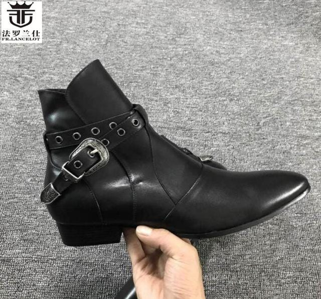 FR.LANCELOT 2018 fashion Chelsea Boots British Style Men leather Boots low heel fashion men's booties party shoes mujer botas