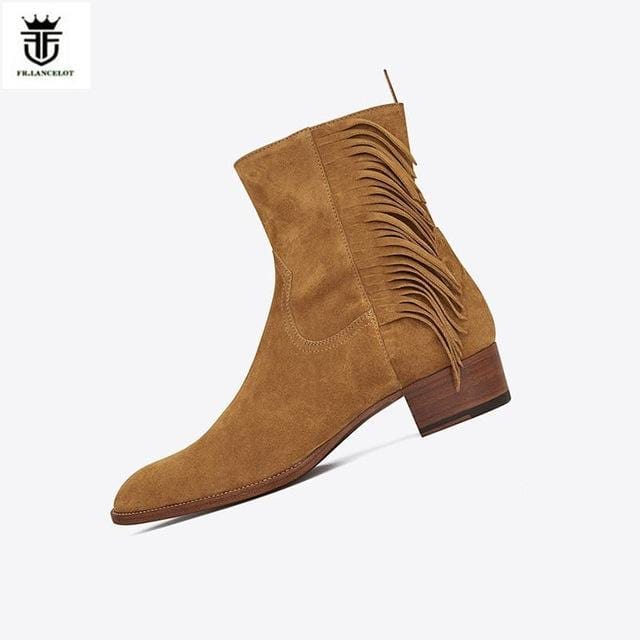 FR.LANCELOT 2018 new Chelsea boots men suede leather boots vintage Style tassel ankle shoes high top zip up men fringe boots