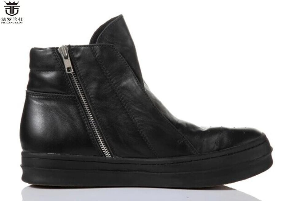 951164e0dca FR.LANCELOT 2018 fashion men Boots ancient Style Real leather male Boots  flat thick heel men's booties zip up soft workin shoes