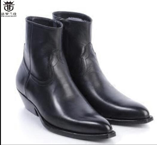 FR.LANCELOT Fashionable new fashion winter men short boot genuine leather boots shoes pointed men's boots Dress boots