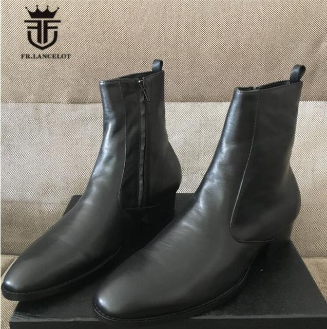 FR.LANCELOT new 2018 men boots dark brown booies zip up real leather shoes men mujer botas party shoes mens walking boots