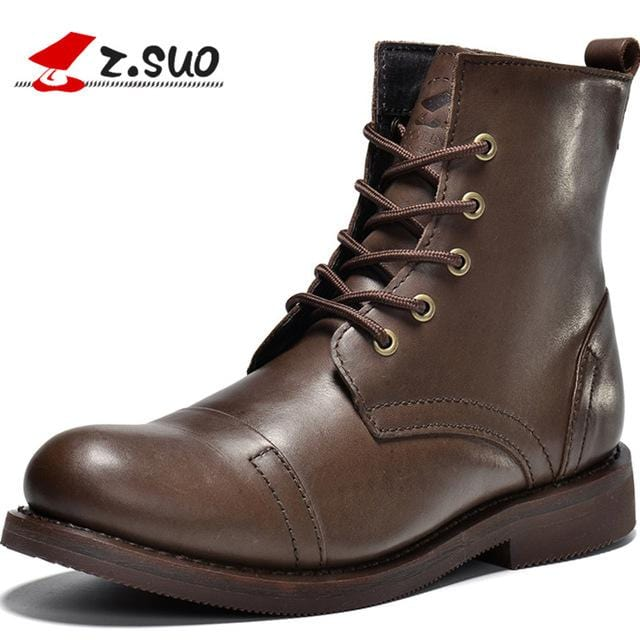 Z.Suo Luxury Brand Winter Boots For Men Cow Leather Mens Boots Genuine Leather Casual Fashion Ankle Boots Brown Bota Masculina