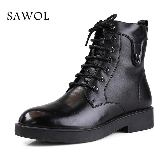 Sawol Brand Men Winter Shoes Natural Wool Genuine Leather Men Mid Calf Boots Winter Boots High Quality Warm Men Winter Shoes