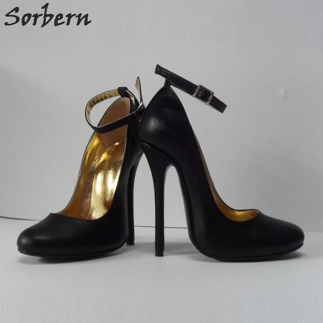 Sorbern Size 32-52 Ankle Strap Women Pumps Stiletto High Heels 14Cm Party Shoes Womens Heels Big Size Diy Color Gold Runway Shoe
