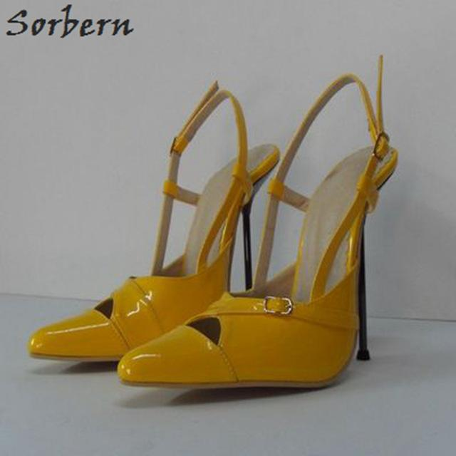 Sorbern Size 33-52 Women Slingbacks Shoes Pointed Toe Stilettos Metal Heels 14Cm Silver Heel Prom Shoes Size 33 Womans Shoes