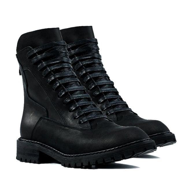 Vintage Spring Men Thick Platform Genuine Leather Martin Boots Lace Up Military Boots Retro High Top Pointed Toe Punk Male Shoes