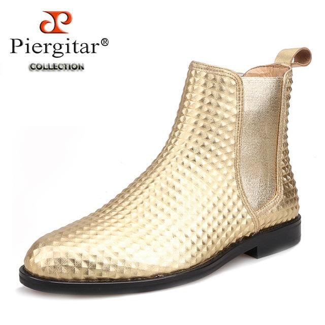 Piergitar 2018 classic styling Handmade Gold Embossed leather Men Chelsea Boots Fashion Party men's casual ankle boot plus sizes