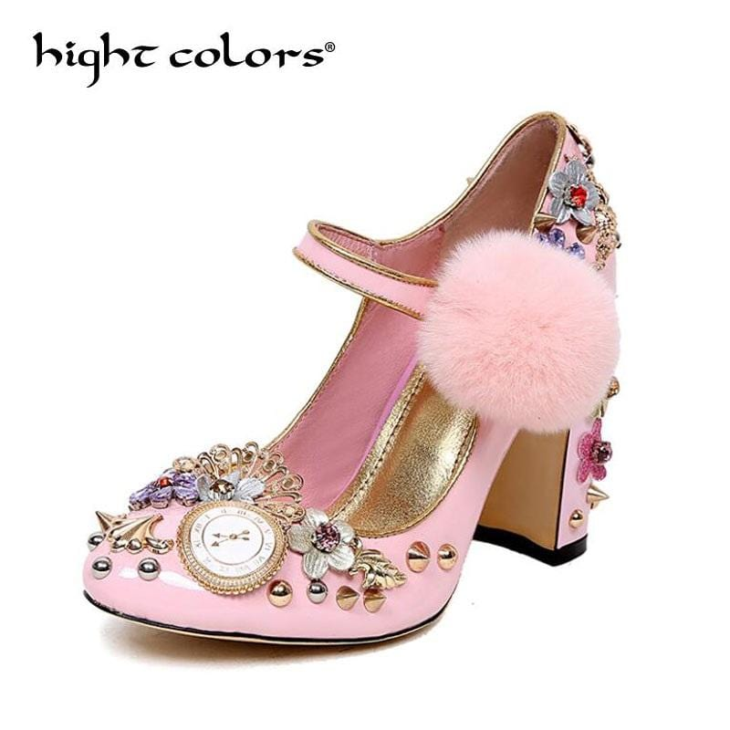 Luxury Brand Pink Fur thick with super high heels shoes flowers rivets diamond Designer ladies Pumps Mary Jane Prince shoes