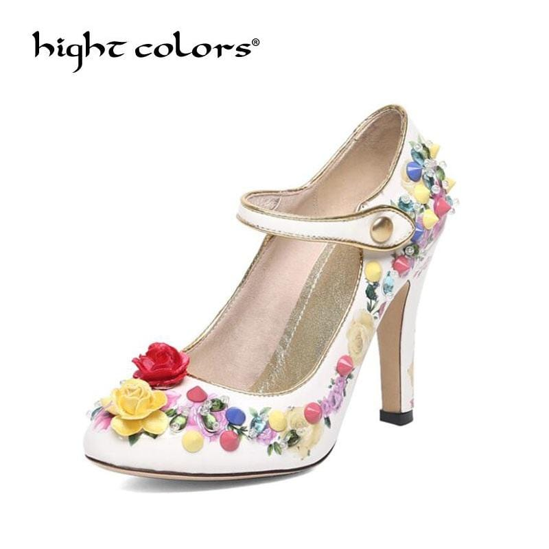 National style women's pumps fine with round head printing leather rivet flowers high heels Mary Jane shoes European station