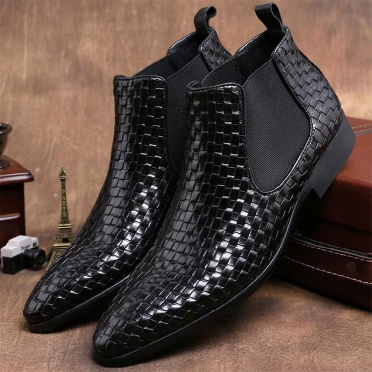 Woven Design black ankle boots mens wedding boots genuine leather mens autumn boots mens motorcycle boots outdoor shoes