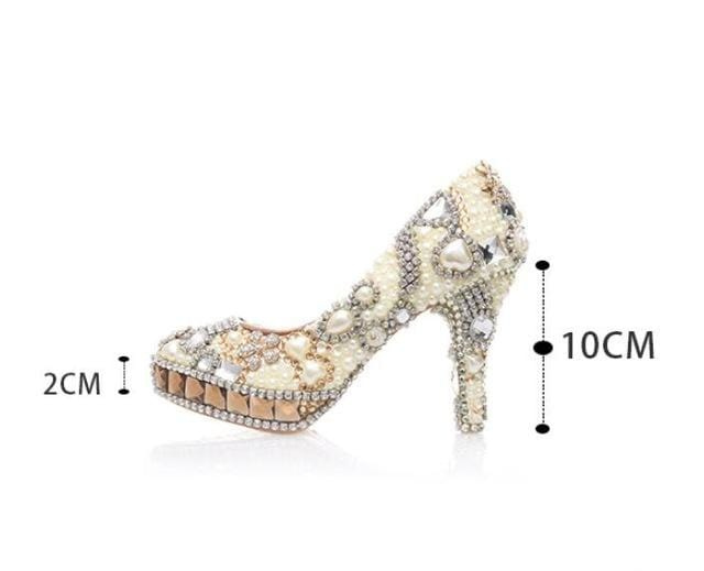 BaoYaFang New arrival Champagne crystal Women Wedding shoes Woman ivory pearl platform shoes Luxury High shoes real leather