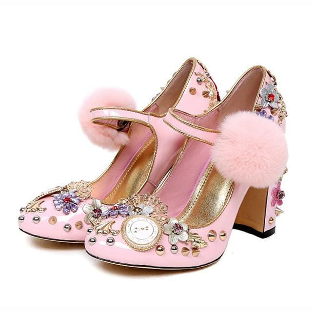 Sweet Pink Women Pumps Rivets Studded Chunky High Heels Mary Janes flowers crystal wedding Shoes for ladies clsaaic Stilettos
