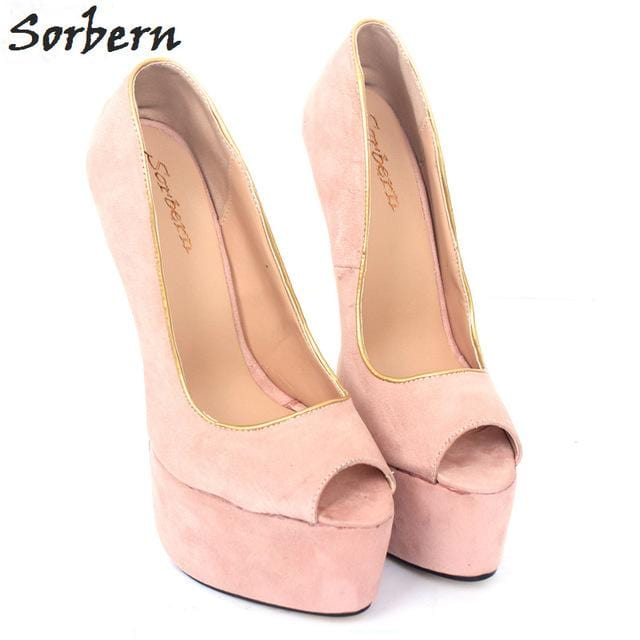 Sorbern Blush Open Toe Ladies Pumps High Heels 22Cm/6Cm Sexy Thin Gold Heels Platform Shoes Slip On Party Shoes Fetish Shoes