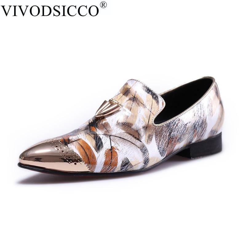VIVODSICCO  Fashion Gold Metal Signature Shark Tooth Genuine Leather Men Loafers Carved Bullock Party Men Printing Dress Shoes