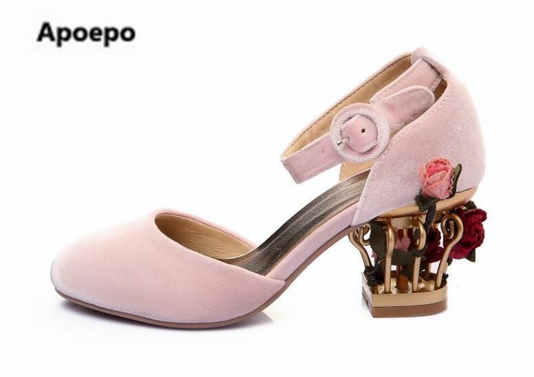 Apoepo design clogs shoes rose flower fretwork heels wedding shoes round toe medium heel shoes red pink blue mary jane pumps