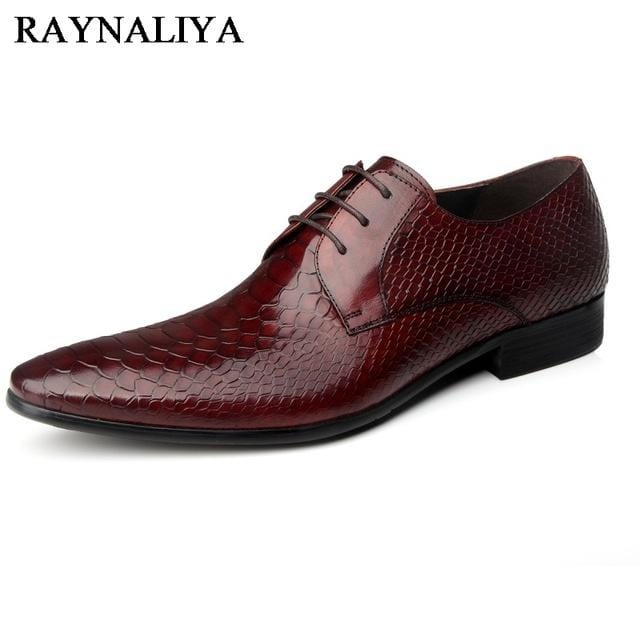2018 New Flat Classic Men Dress Shoes Genuine Leather British Lace-Up Pointed Formal Shoes Brand Men Wedding Shoes YJ-B0009