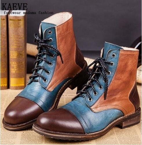 2016 New Brand Men Cow Leather boots Flats Ankle Boots Lace-Up Retra Botas Men Army Shoes Classics Martin Boot Top Quality