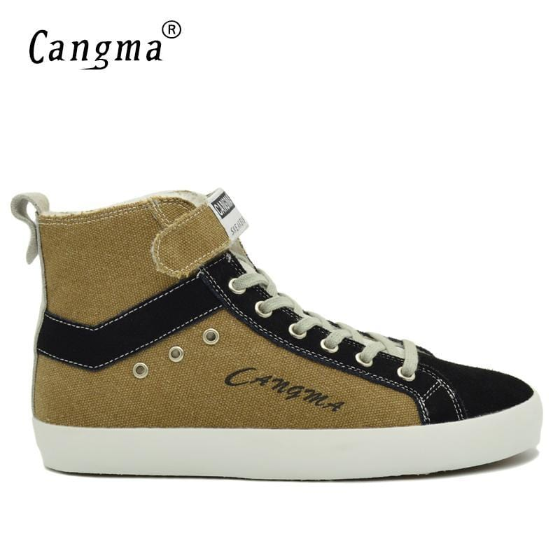 CANGMA Original Designer Man Boots Vintage Casual Shoes Men's Sneakers Handmade Warm Canvas Shoes Male Lace Up Brown Ankle Boots