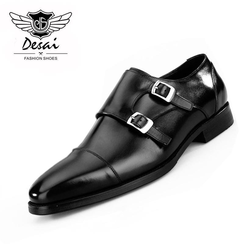 New Arrival Shoes Men Genuine Leather Formal Dress Shoes Authentic European American Fashion Munch Square Toe Shoes