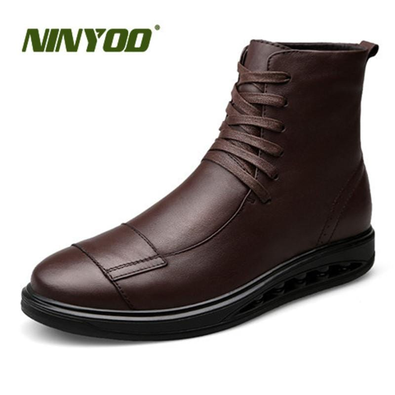 NINYOO New Men Boots Genuine Leather Ankle Boots Soft Fashion Motorcycle Boots Waterproof Outdoor Martens Boots Work Plus Size46