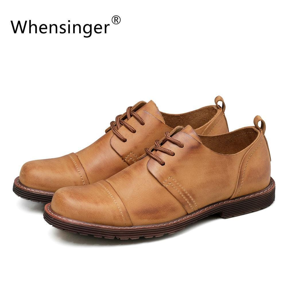Whensinger - 2018 New Men's Genuine Leather Shoes Fashion Lace-Up Design 2310