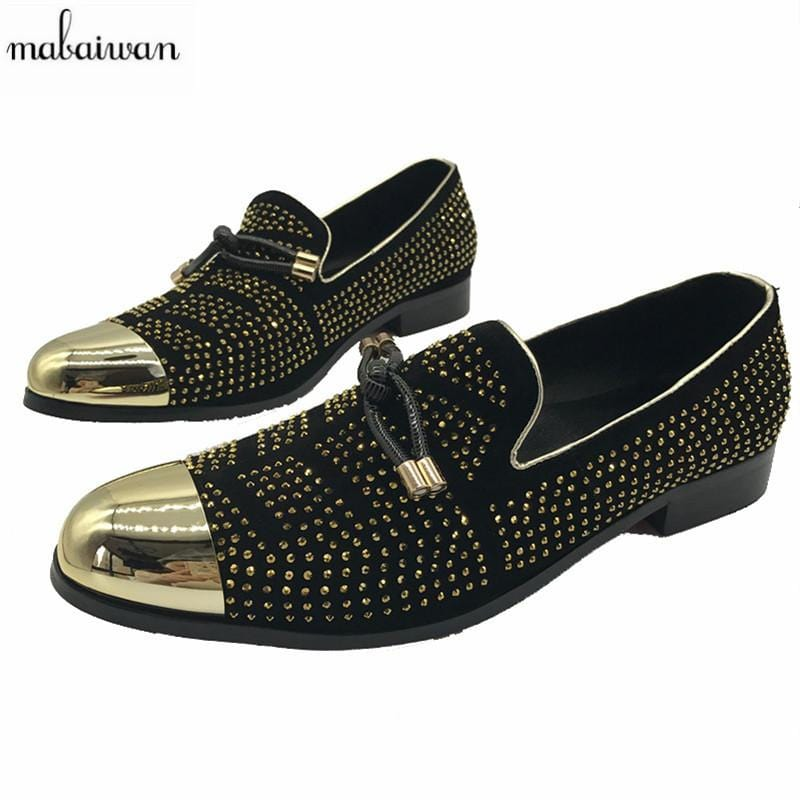 Mabaiwan Rhinestone Metal Pionted Toe Men Shoes Loafers Party Office Shoes Slip On Casual Shoes Men Flats Creepers Espadrilles