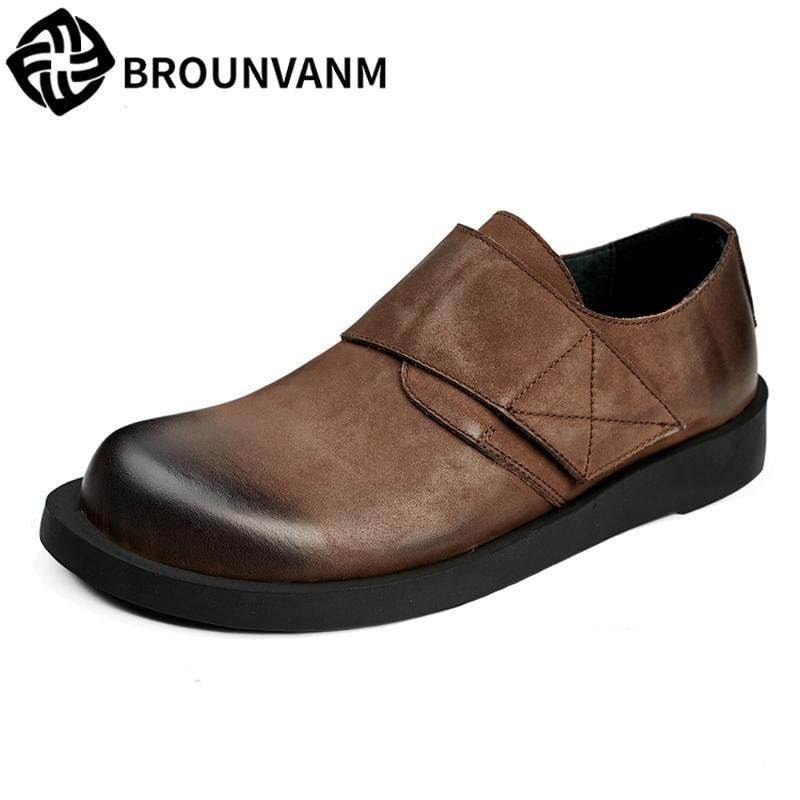 spring and autumn male bottom pedal lazy shoes men British retro men's Genuine Leather shoes all-match cowhide casual Leisure