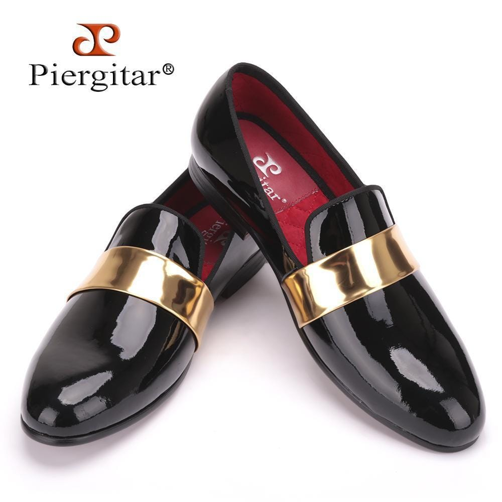 Handmade men leather Loafers with gold patent leather buckle International fashion party and wedding men dress shoes men's flats