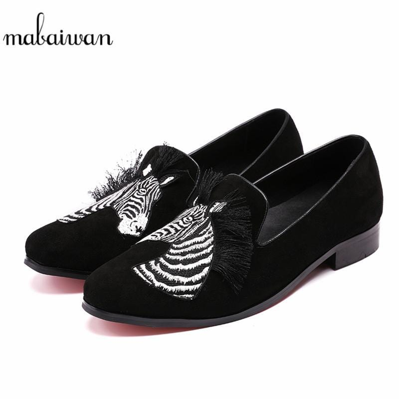 Mabaiwan Fashion Black Men Shoes Loafers Tassel Embroidered Moccasins Slippers Flats Slip On Wedding Casual Shoes Men's Dress