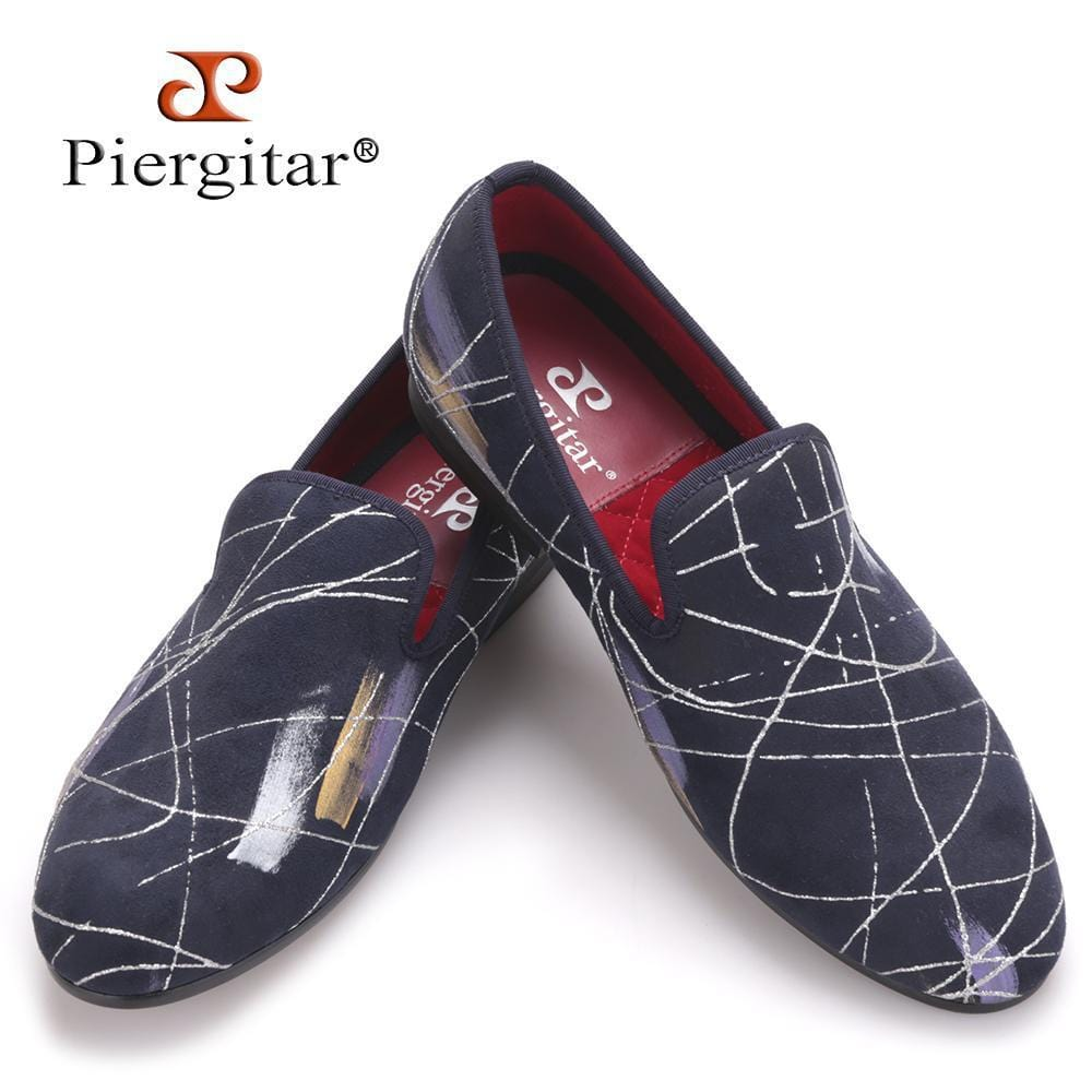 Piergitar Luxury Handmade oil painting style Men casual shoes Men party and Prom Plus Size Loafers Men's Flats Size US 4-17