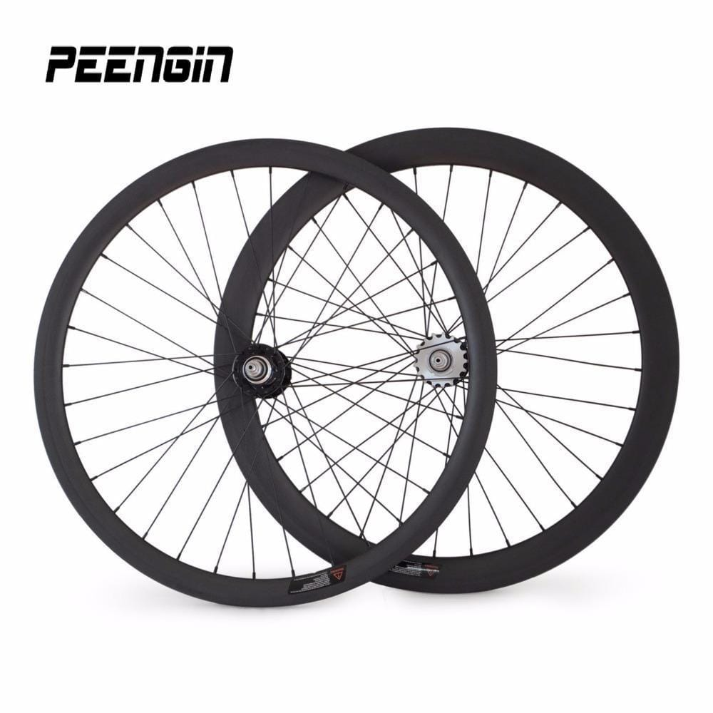 Cheapest 700C velo route carbon track mixed wheels 38 front wheel bicycle carbon clincher 50mm rear 23mm fixed gear single speed