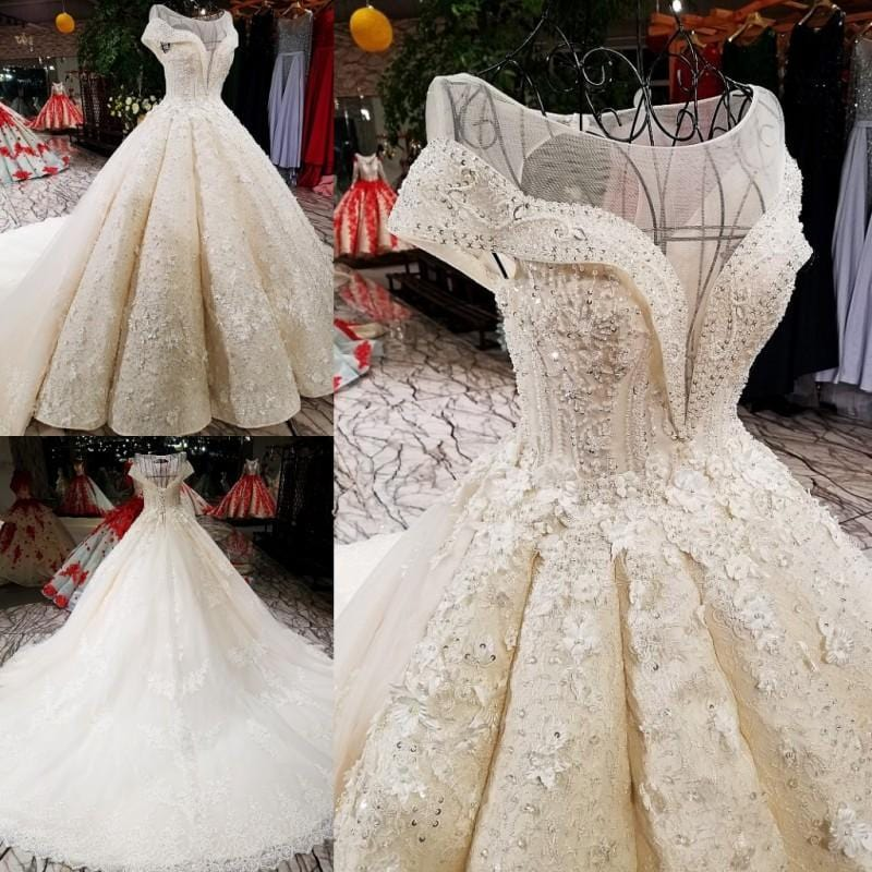 High-end Vintage Embroidery Sequined Sparkly Wedding Dresses 2018 Sleeveless Fashion Sexy Tulle Bride Gown Real Photo