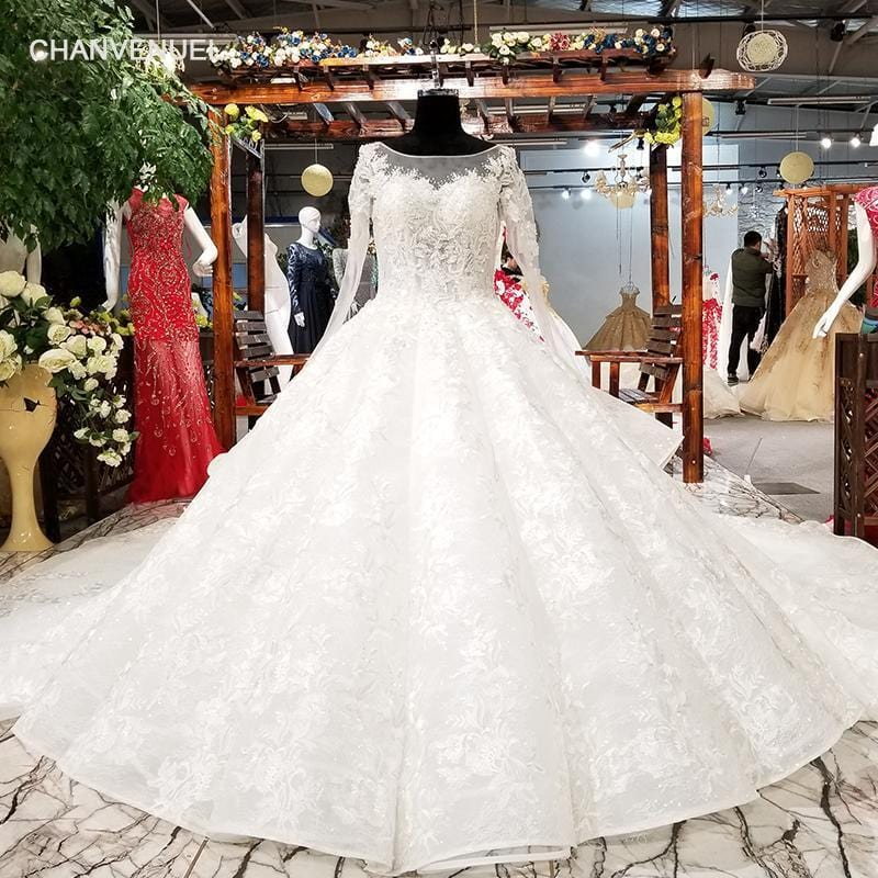 LS81214 long sleeves wedding dress appliques champagne lace latest sweetheart ball gown lace up wedding dresses bridal gown 2018