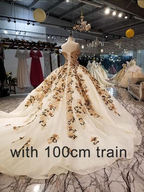 LS3221 sexy off shoulder sweetheart evening dress with colorful flowers plus size ball gown formal party dress with long train