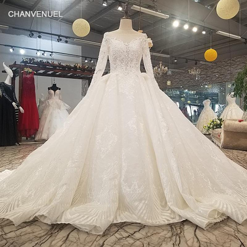 LS6111 sexy v-back wedding dress long see-through sleeve ball gown high quality bridal gown 2018 quick shipping from china store