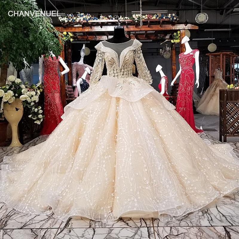 LS61019 long sleeve wedding dress o-neck lace up back wholesale bridal wedding gown with long train quick shipping from china