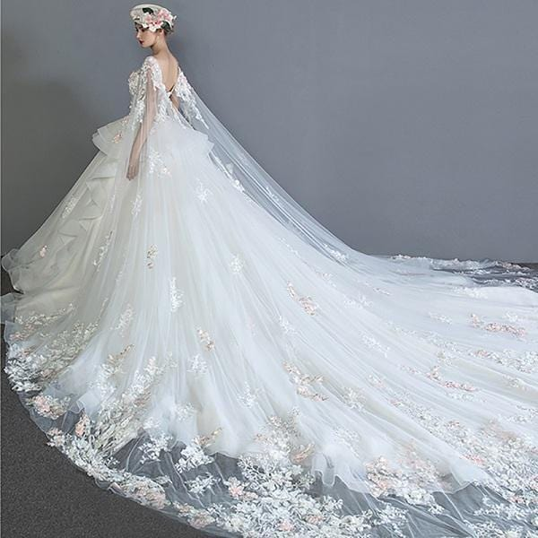 Dressv White Wedding Dress Backless Flowers Lace With Cape A Line Elegant Luxurious 2018 Custom Wedding Gown Wedding Dress