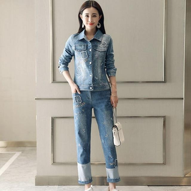 Korean Fashion Womens Two Piece Sets 2018 Spring Autumn Streetwear Casual Slim Fit Jeans Coat Full Length loose Fit Denim Pants