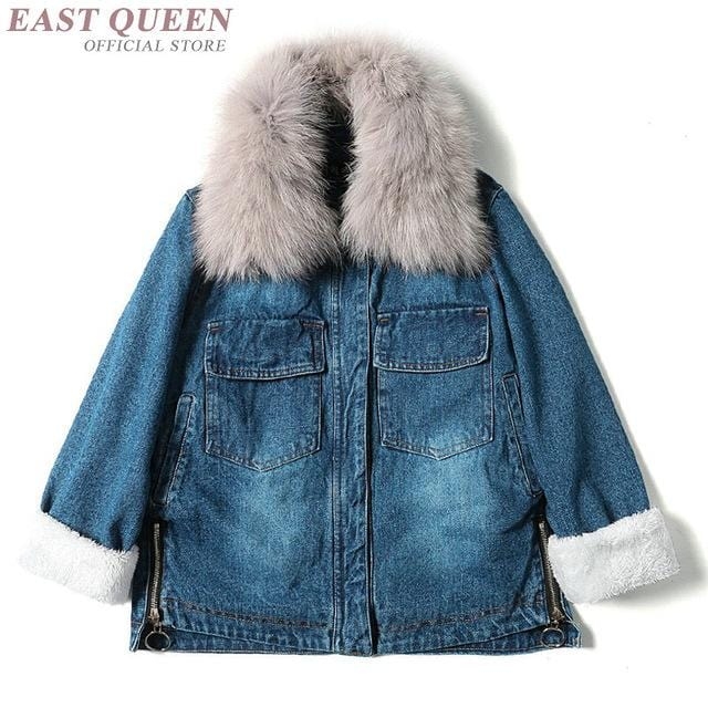 2018 fashion fur denim jacket women jacket women spring blue jeans jacket women AA3275 Y