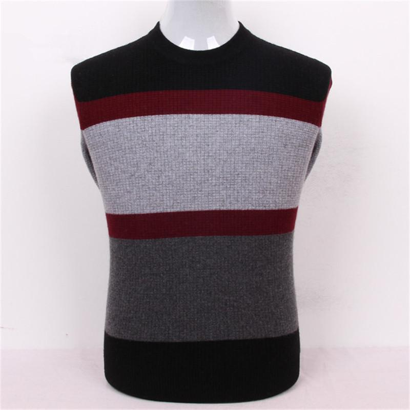 100%goat cashmere striped thread knit men fashion thick pullover sweater half-high Oneck grey 2color S/3XL