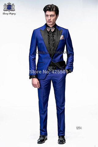 (Blazer+Pants) One Button Men Suit 2019 New Single Breasted Slim Fit Fashion Wedding - EM