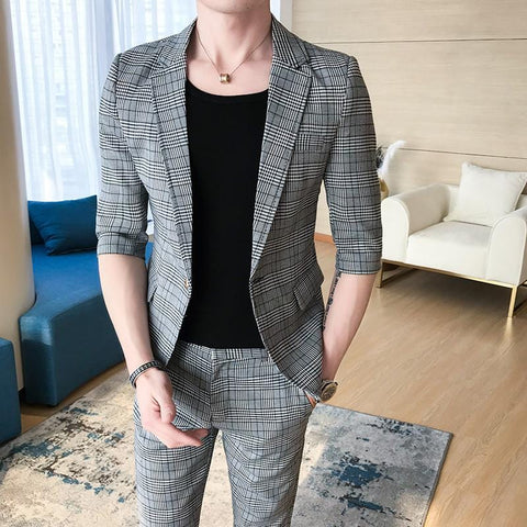 (Front + pants) spring new men's version free single button youth suit jacket tide